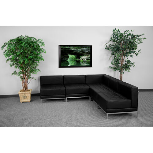 HERCULES Imagination Series Black LeatherSoft Sectional Configuration, 5 Pieces