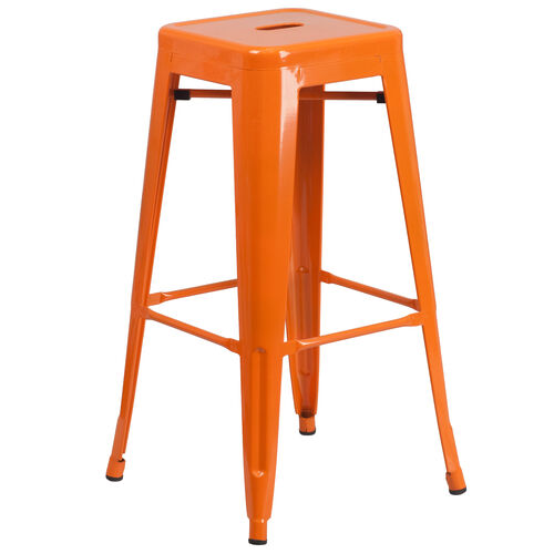 "Our Commercial Grade 30"" High Backless Orange Metal Indoor-Outdoor Barstool with Square Seat is on sale now."