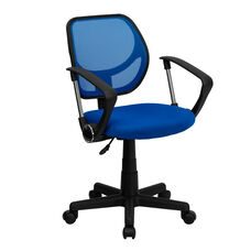 Mid-Back Blue Mesh Swivel Task Chair with Arms