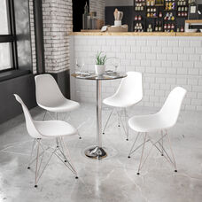 23.5'' Round Glass Table with 35.5''H Chrome Base