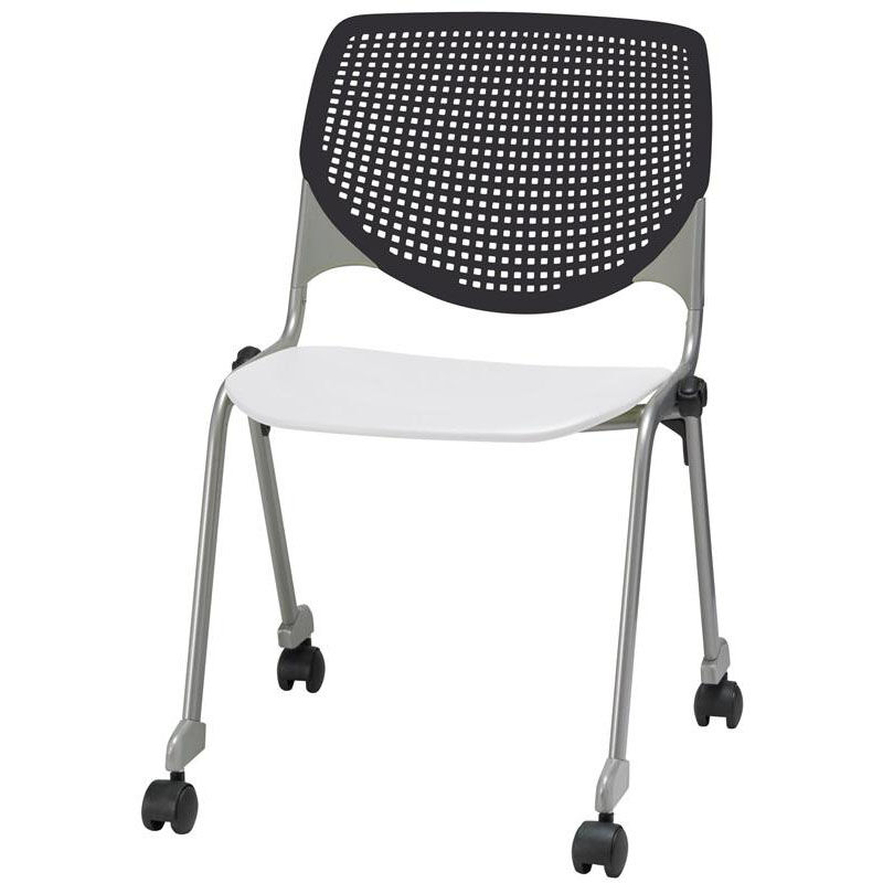 ... Our 2300 KOOL Series Stacking Poly Silver Steel Frame Armless Chair  With Black Perforated Back And ...
