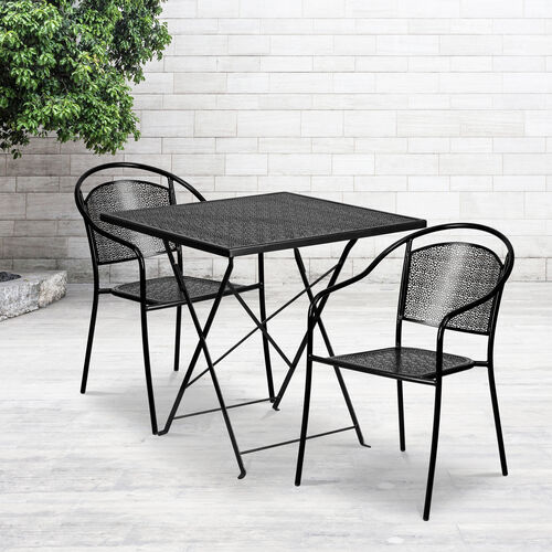 "Our Commercial Grade 28"" Square Indoor-Outdoor Steel Folding Patio Table Set with 2 Round Back Chairs is on sale now."