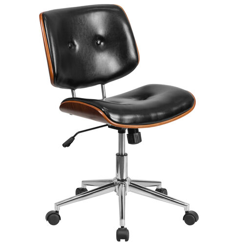Our Low Back Black Leather Ergonomic Wood Swivel Task Office Chair is on sale now.