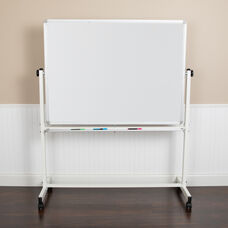 "HERCULES Series 53""W x 62.5""H Double-Sided Mobile White Board with Pen Tray"