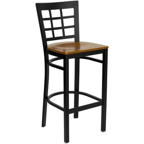 Our Black Window Back Metal Restaurant Barstool with Cherry Wood Seat is on sale now.