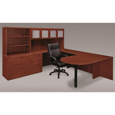 Fairplex Deluxe Left Executive Peninsula U Workstation - Cognac Cherry
