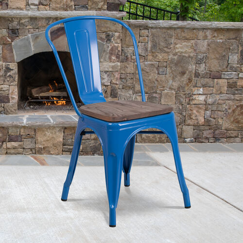 Our Blue Metal Stackable Chair with Wood Seat is on sale now.