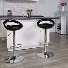 Contemporary Black Plastic Adjustable Height Barstool with Rounded Cutout Back and Chrome Base