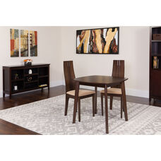 Newport 3 Piece Espresso Wood Dining Table Set with Padded Wood Dining Chairs