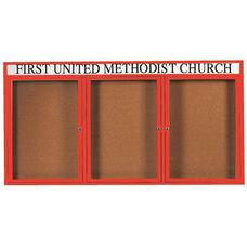 3 Door Indoor Enclosed Bulletin Board with Header and Red Powder Coated Aluminum Frame - 36