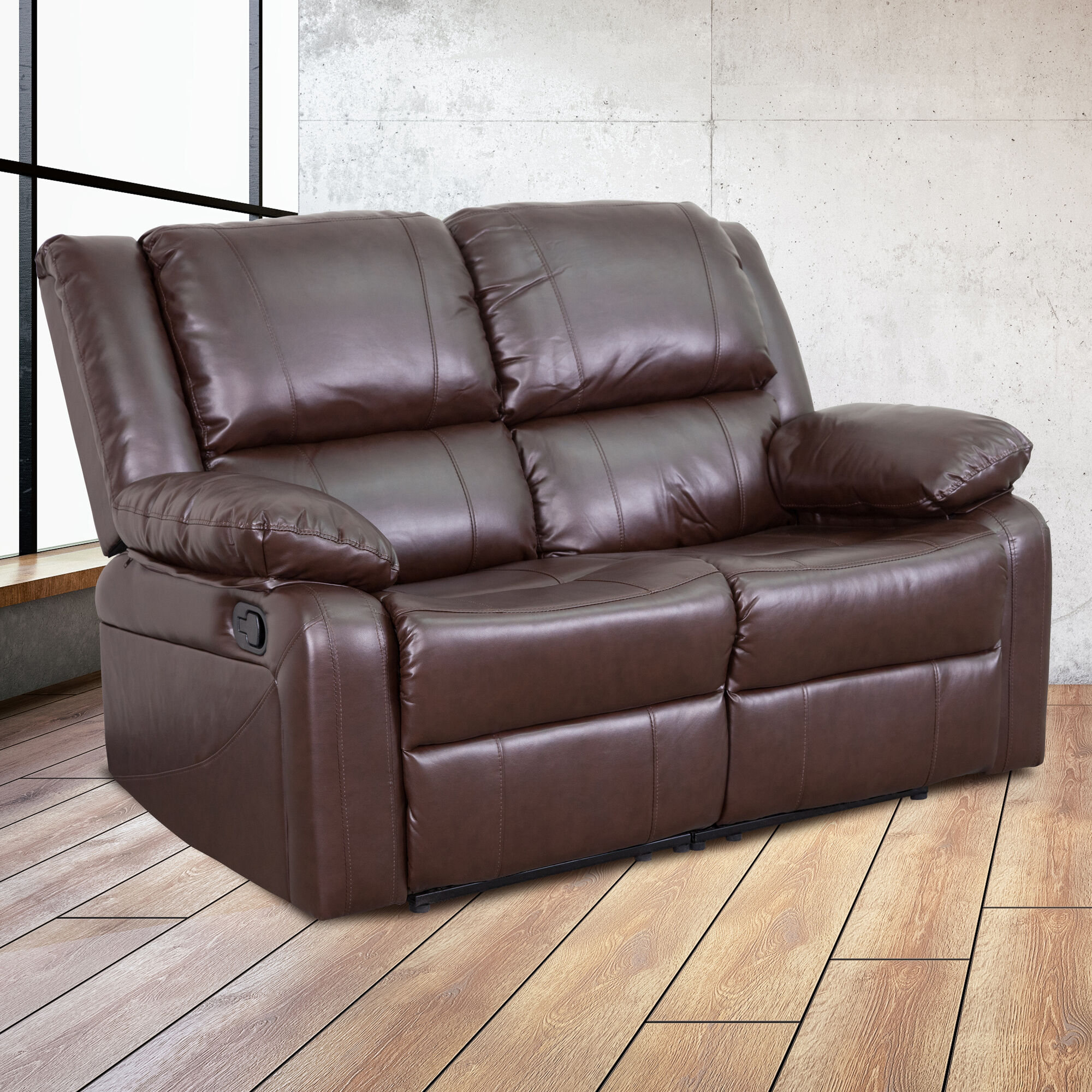 Brown Leather Recline Loveseat Bt 70597 Ls Bn Gg Bizchair Com