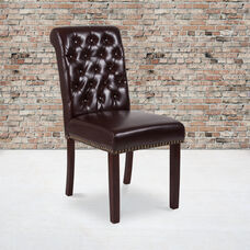 HERCULES Series Brown LeatherSoft Parsons Chair with Rolled Back, Accent Nail Trim and Walnut Finish
