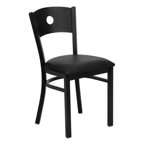 Our Black Circle Back Metal Restaurant Chair with Black Vinyl Seat is on sale now.