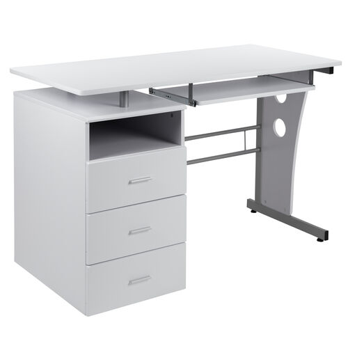 Our White Desk with Three Drawer Pedestal and Pull-Out Keyboard Tray is on sale now.