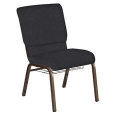 Embroidered 18.5''W Church Chair in Ravine Ebony Fabric with Book Rack - Gold Vein Frame
