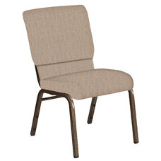 Embroidered 18.5''W Church Chair in Amaze Fossil Fabric - Gold Vein Frame