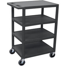 4 Flat Shelf Mobile Structural Foam Plastic Utility Cart - Black - 24