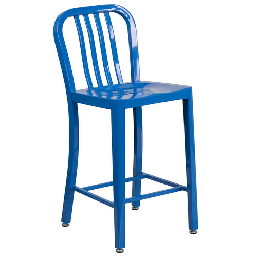 """Our Commercial Grade 24"""" High Blue Metal Indoor-Outdoor Counter Height Stool with Vertical Slat Back is on sale now."""