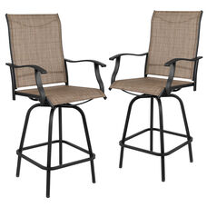 """30"""" All-Weather Patio Swivel Outdoor Stools, Brown, Set of 2"""