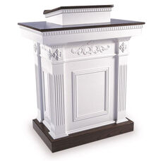 Red Oak Colonial Finish Tiered Pulpit with Decorative Accents and Fixed Lid