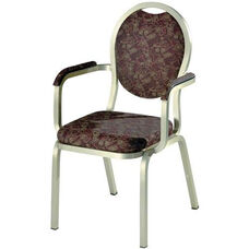 Burgess Como Premium Comfort Banquet Stacking Arm Chair with Round Back