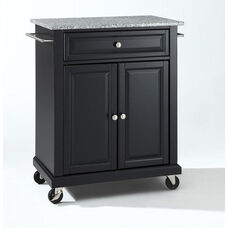 Solid Granite Top Portable Kitchen Island with Casters - Black Finish