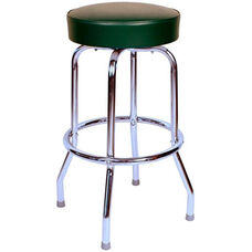 50's Retro Backless 24''H Swivel Bar Stool with Chrome Frame and Padded Seat - Green Vinyl