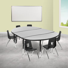 """76"""" Oval Wave Collaborative Laminate Activity Table Set with 12"""" Student Stack Chairs, Grey/Black"""