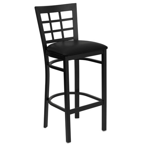 Our Black Window Back Metal Restaurant Barstool with Black Vinyl Seat is on sale now.