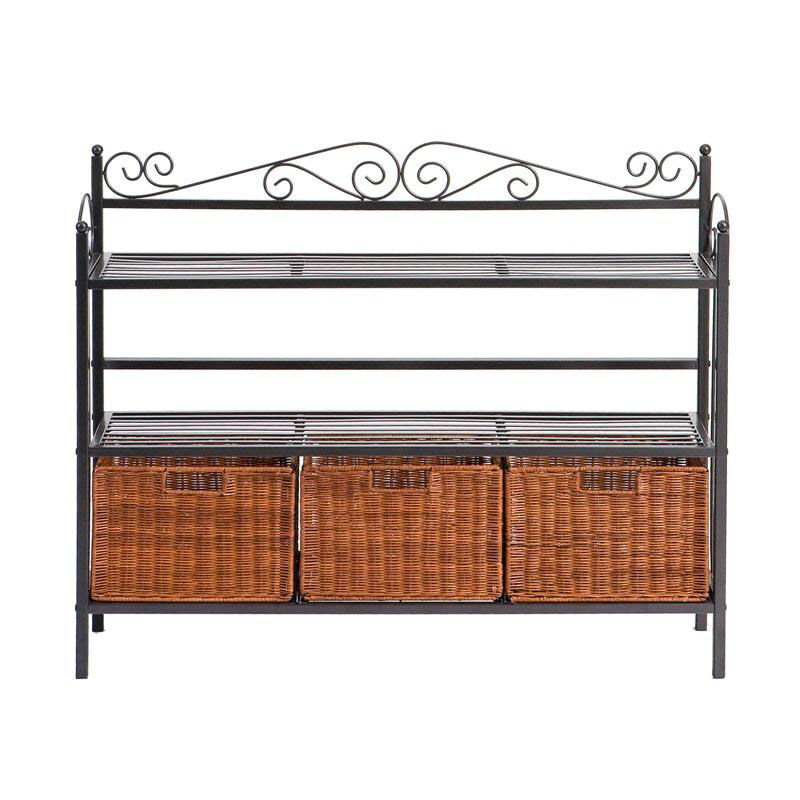 ... Our Celtic Durable Textured Finish Metal Fixed Shelf Bakers Rack With 3  Brown Rattan Storage Baskets ...
