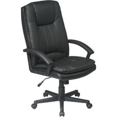 Work Smart High Back Executive Eco Leather Chair - Black