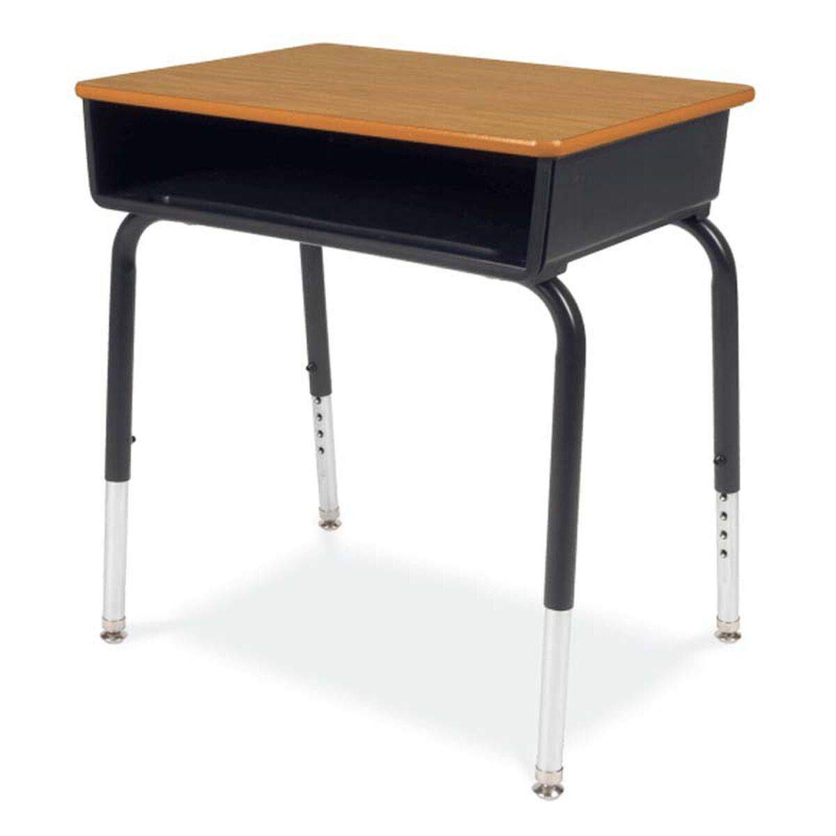 Our Quick Ship 785 Series Um Oak Laminate Top Student Desk With Black Open Front Plastic
