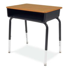 Quick Ship 785 Series Medium Oak Laminate Top Student Desk with Black Open Front Plastic Book Box and Frame - 18