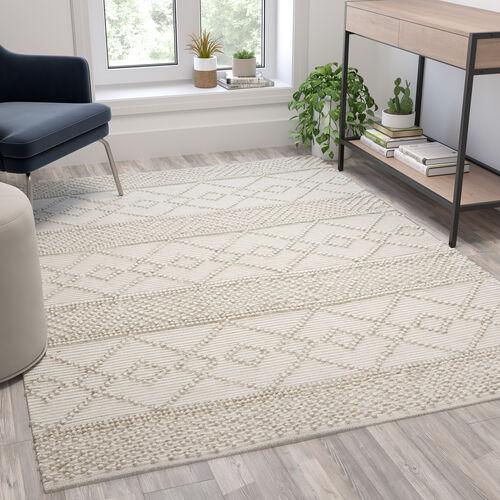Geometric Design Handwoven Area Rug - Wool/Polyester/CottonBlend
