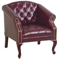Work Smart Queen Ann Traditional l Button Tufted Vinyl Guest Chair with Mahogany Finish Legs - Oxblood