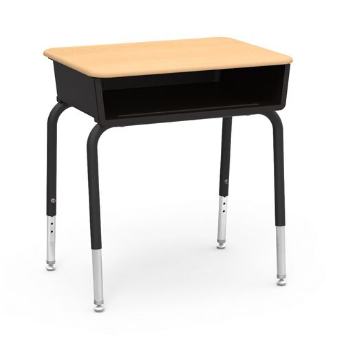 Our 785 Series Hard Plastic Fusion Maple Top Student Desk with Black Open Front Plastic Book Box and Legs - 18