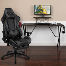 BlackArc Black Gaming Desk with Cup Holder/Headphone Hook and Monitor/Smartphone Stand & Gray Reclining Gaming Chair with Footrest