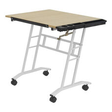 Studio Mobile Maple and Steel Craft Center with Adjustable Angle Desk Top - White
