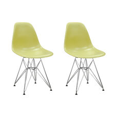 Paris Tower Side Chair with Chrome Legs and Green Seat - Set of 2