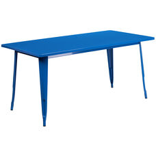 "Commercial Grade 31.5"" x 63"" Rectangular Blue Metal Indoor-Outdoor Table"