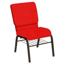 HERCULES Series 18.5''W Church Chair in E-Z Sierra Torch Red Vinyl with Book Rack - Gold Vein Frame