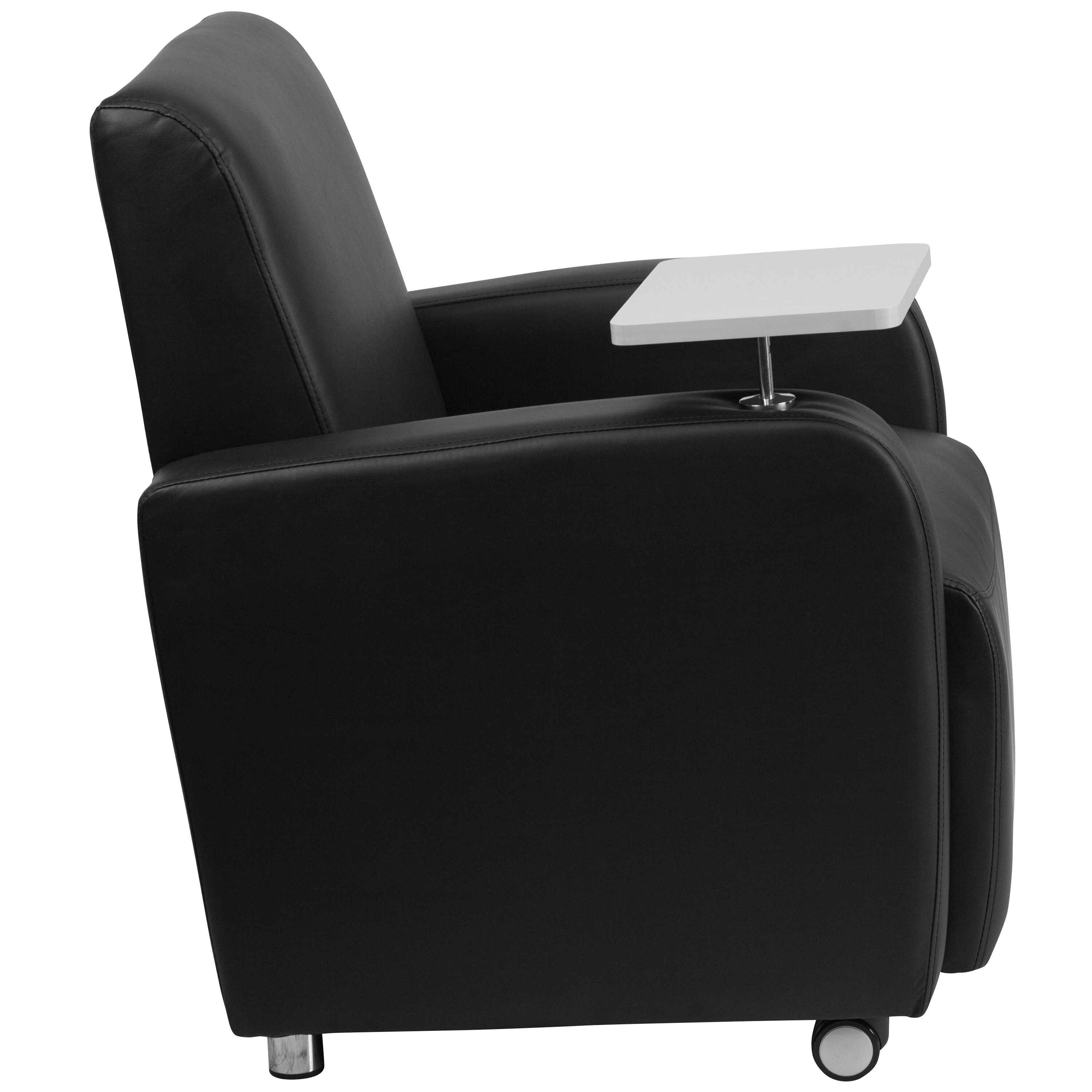 Beau ... Our Black Leather Guest Chair With Tablet Arm, Front Wheel Casters And  Cup Holder Is ...