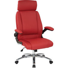 Work Smart Executive Faux Leather Office Chair with Chrome Metal Base - Red