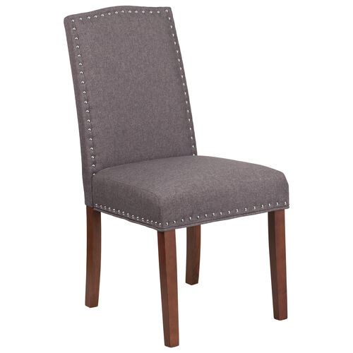 Our HERCULES Hampton Hill Series Gray Fabric Parsons Chair with Silver Accent Nail Trim is on sale now.