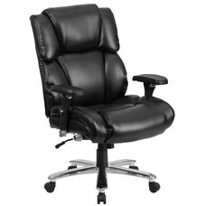 HERCULES Series 24/7 Intensive Use Big & Tall 400 lb. Rated Black Leather Executive Lumbar Ergonomic Office Chair