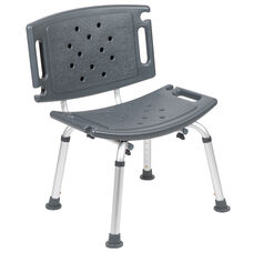 HERCULES Series Tool-Free and Quick Assembly, 300 Lb. Capacity, Adjustable Gray Bath & Shower Chair with Extra Large Back