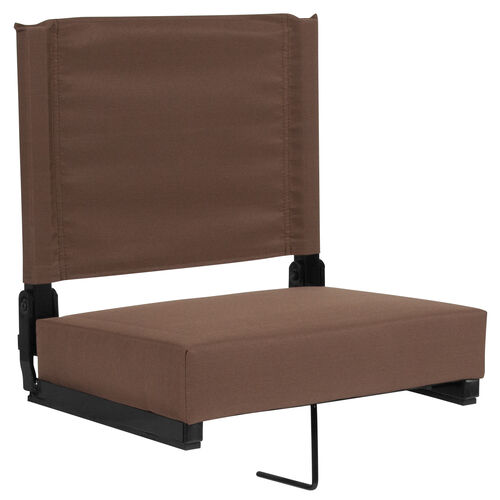 Our Grandstand Comfort Seats by Flash with Ultra-Padded Seat in Brown is on sale now.