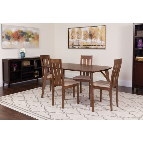 Our Avondale 5 Piece Walnut Wood Dining Table Set with Vertical Slat Back Wood Dining Chairs - Padded Seats is on sale now.