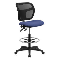 Mid-Back Navy Blue Mesh Drafting Chair with Back Height Adjustment