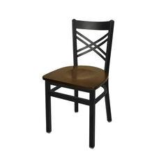 Akrin Metal Cross Back Chair - Walnut Wood Seat